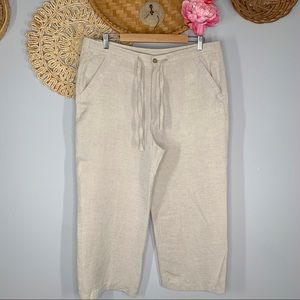 AXIS Size Large Straight Leg Cropped Drawstring Linen Pants High Waisted Beige